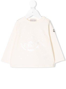 Moncler Kids long-sleeve printed T-shirt - White