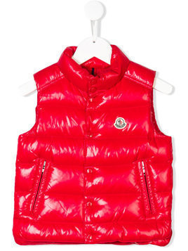 Moncler Kids logo patch embellished gilet - Red