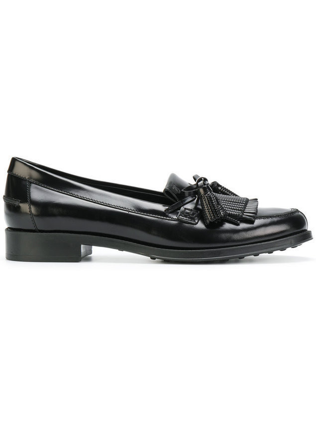 Tod's tassel fringe loafers - Black