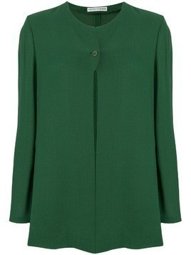 Giorgio Armani Pre-Owned collarless fluid jacket - Green