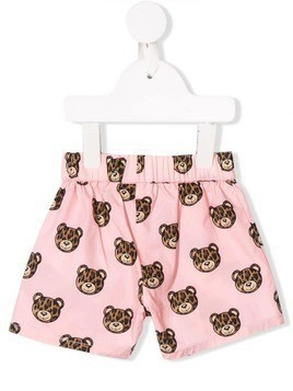 Moschino Kids leopard toy print shorts - Pink