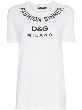 Dolce & Gabbana Fashion Sinner logo print cotton t shirt - White