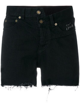 Saint Laurent asymmetric denim shorts - Black