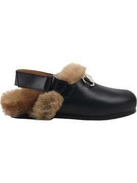 Gucci Kids faux fur-lined slippers - Black
