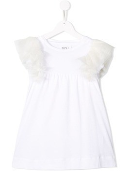 Douuod Kids tulle sleeve jersey dress - White