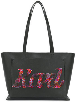 Karl Lagerfeld pixelated logo tote - Black
