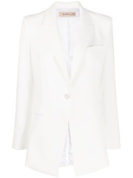 Blanca Vita single-breasted angled suit jacket - White