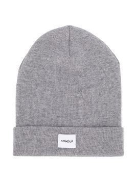 Dondup Kids TEEN ribbed logo patch beanie - Grey