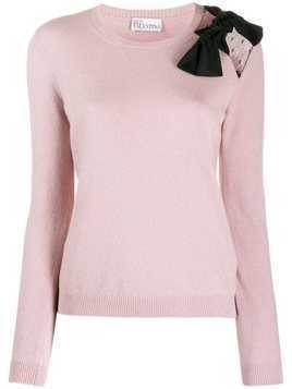 Red Valentino bow detailed knitted top - Pink