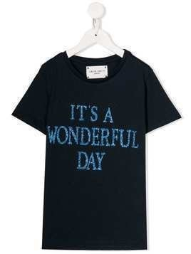 Alberta Ferretti Kids glitter-text T-shirt - Blue