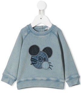 Stella McCartney Kids mouse embroidered sweatshirt - Blue