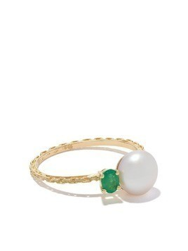 Wouters & Hendrix Gold 18kt yellow gold Emerald & Pearl ring
