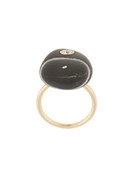 Cvc Stones 18kt yellow gold Castle Rock diamond pebble ring - Black