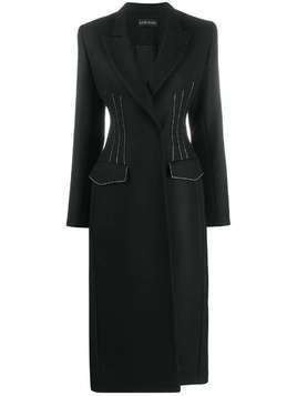 David Koma belted midi coat - Black