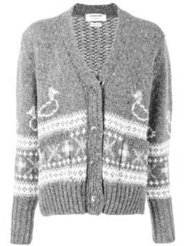 Thom Browne duck Fair Isle oversized cardigan - Grey