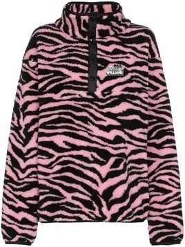 Ashley Williams Juju tiger print button-neck fleece - Pink
