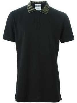 Moschino logo collar polo shirt - Black