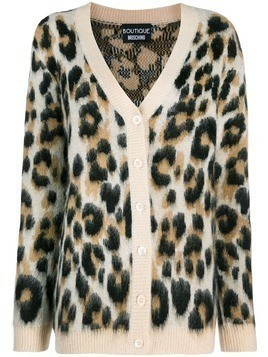 Boutique Moschino leopard print cardigan - Brown