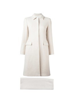 Prada Vintage single breasted coat&skirt suit - White