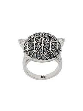 Karl Lagerfeld faceted Choupette ring - Silver