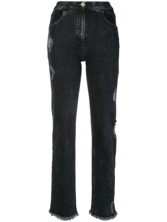 Balmain cropped denim trousers - Black