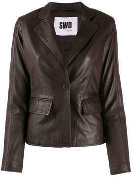 S.W.O.R.D 6.6.44 fitted leather jacket - Brown