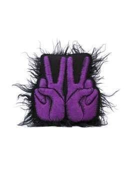 Walter Van Beirendonck W-Peace Fur badge - PURPLE