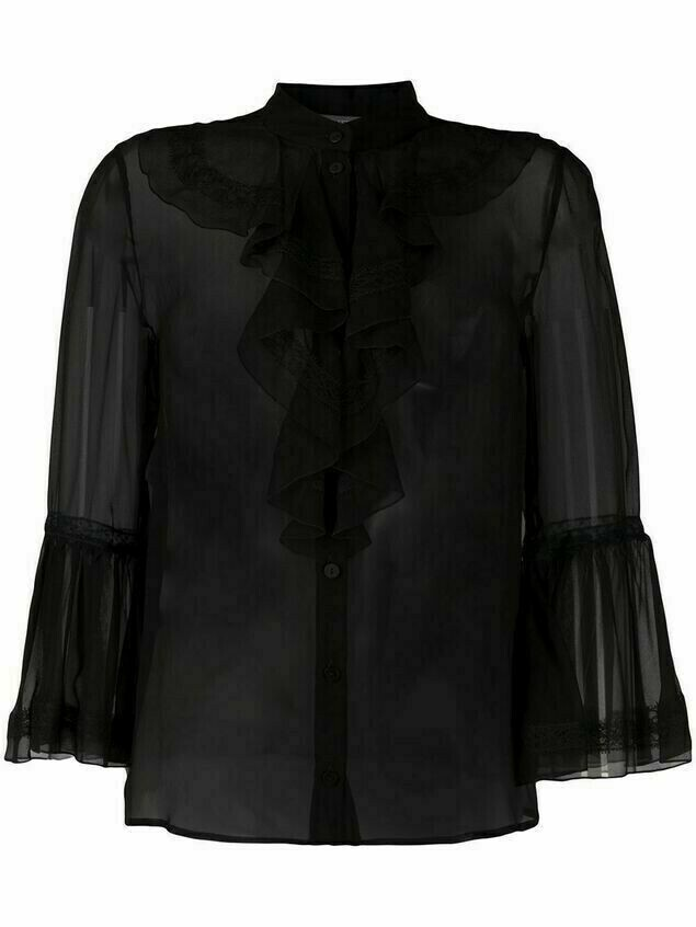 Alberta Ferretti poet sleeve silk top - Black