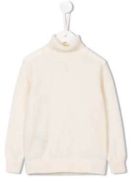 Cashmirino Ribbed roll neck jumper - White