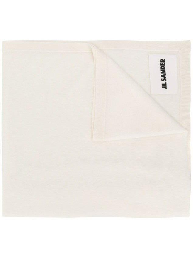 Jil Sander logo patch knitted scarf - White