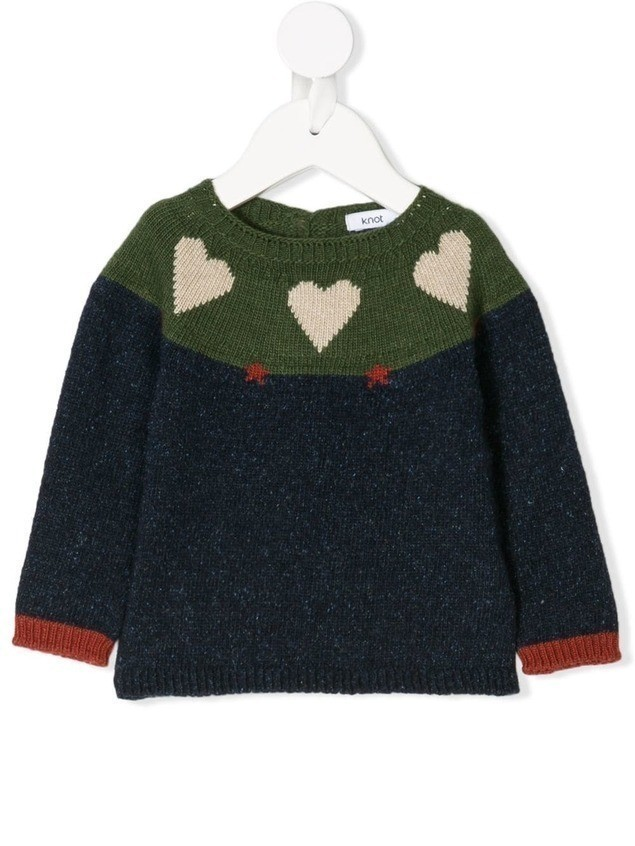 Knot Hearts & Stars knit sweater - Blue