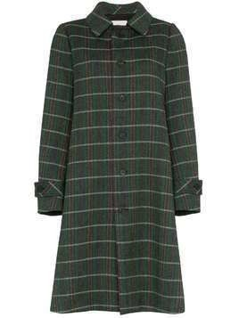 Matthew Adams Dolan grey, green and white opera back check wool coat