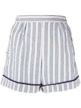 Suboo striped high waisted shorts - Blue
