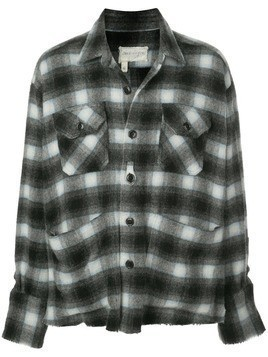 Greg Lauren checked shirt jacket - Black