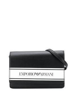 Emporio Armani Kids logo print shoulder bag - Black