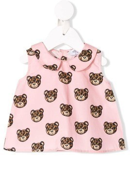 Moschino Kids leopard toy print smock top - Pink