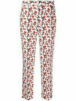 P.A.R.O.S.H. floral-print cotton trousers - White