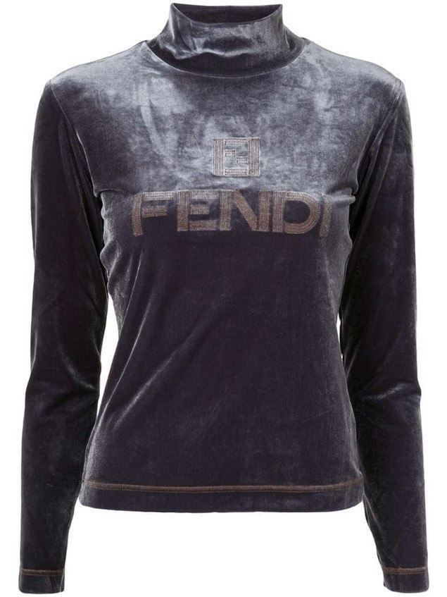 Fendi Pre-Owned High Neck Long Sleeve Tops - Grey