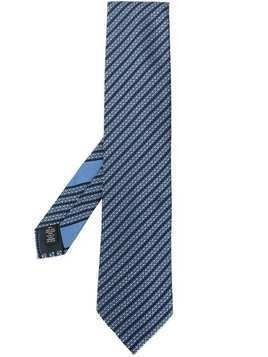 Ermenegildo Zegna stripe embroidered tie - Blue