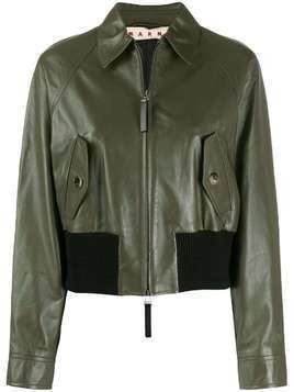 Marni cropped leather jacket - Green
