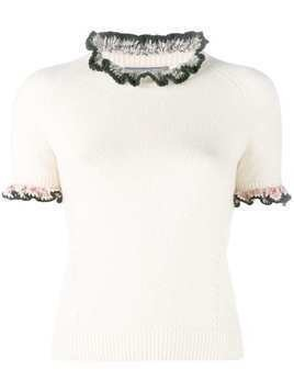 Alexander McQueen cashmere knitted ruffle top - White