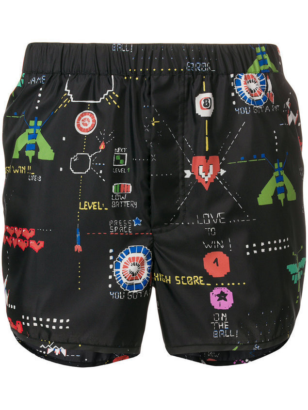 Valentino video game print swimming trunks - Black