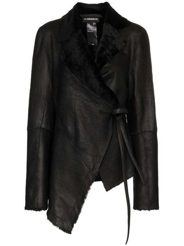 Ann Demeulemeester shearling trimmed leather jacket - Black