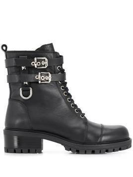 Albano side buckle boots - Black