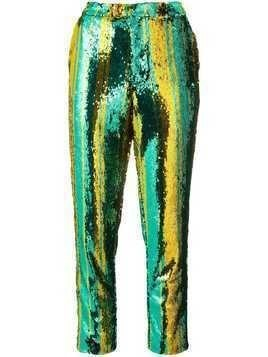 Halpern sequin embellished trousers - Green