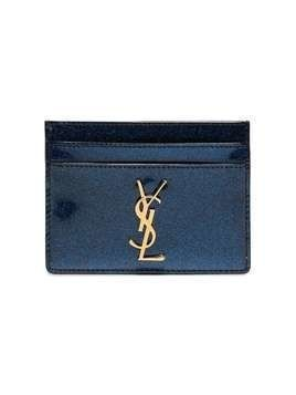 Saint Laurent Blue Patent Glitter Monogramme Card Holder