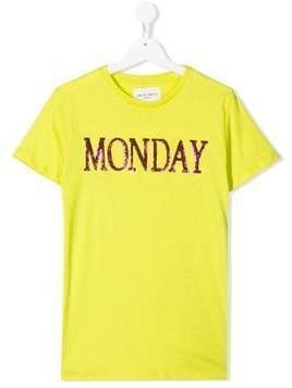 Alberta Ferretti Kids TEEN Monday slogan T-shirt - Yellow