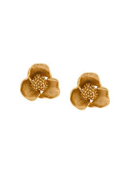 Oscar de la Renta Blooming bold flower earrings - Metallic