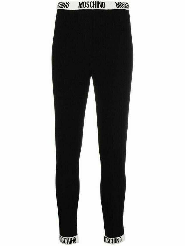 Moschino logo tape trim knitted leggings - Black
