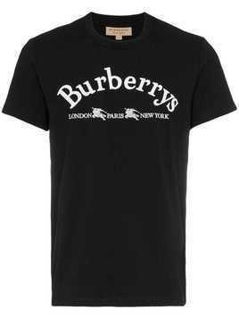 Burberry logo embroidered cotton t-shirt - Black